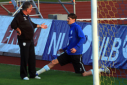 Dr. Vasja Kruh and Milivoje Novakovic (11) at practice of Slovenian men National team, on October 13, 2008, in Domzale, Slovenia.  (Photo by Vid Ponikvar / Sportal Images)