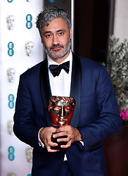 Taika Waititi with his Best Adapted Screenplay Bafta award attending the after show party for the 73rd British Academy Film Awards.