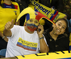 Ecuadorian fans wait for the match to start - Photo mandatory by-line: Robin White/JMP - Tel: Mobile: 07966 386802 01/01/2014 - SPORT - FOOTBALL - The Den - Australia v Ecuador - World Cup Warm Up