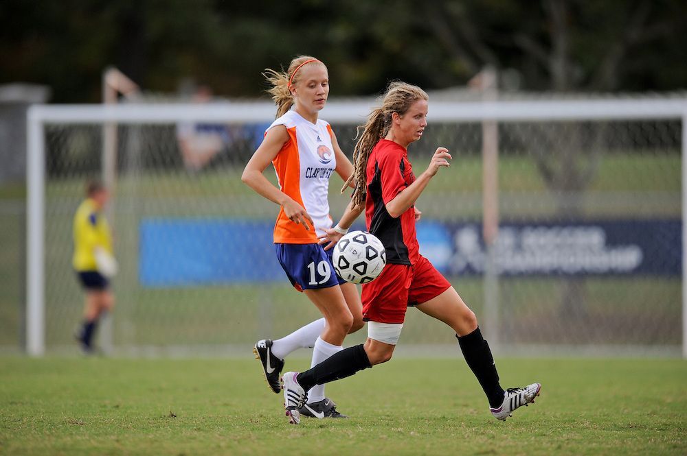 Sept. 15, 2012; Morrow, GA, USA; Clayton State women's soccer player Courtney Hodges against the Flagler at CSU. Photo by Kevin Liles/kdlphoto.com
