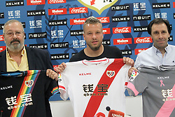 04.08.2015, Ciudad Deportiva del Rayo Vallecano, Madrid, ESP, Primera Division, Rayo Vallecano, Spielerpraesentation, im Bild Rayo Vallecano's new player Patrick Ebert (c) withnthe General Manager Felipe Minambres (r) // during his official presentation as a new player of the Spanish Primera Division Club Rayo Vallecano at the Ciudad Deportiva del Rayo Vallecano in Madrid, Spain on 2015/08/04. EXPA Pictures © 2015, PhotoCredit: EXPA/ Alterphotos/ Acero<br /> <br /> *****ATTENTION - OUT of ESP, SUI*****