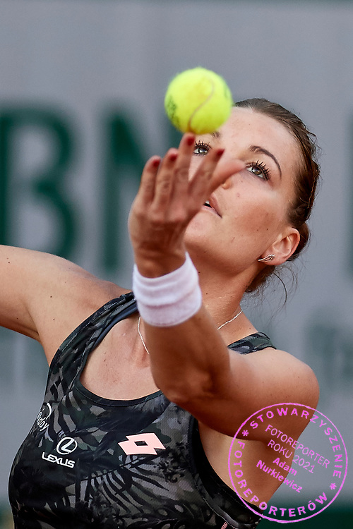Paris, France - 2017 May 30: Agnieszka Radwanska from Poland serves during her women's single match first round during tennis Grand Slam tournament The French Open 2017 (also called Roland Garros) at Stade Roland Garros on May 30, 2017 in Paris, France.<br /> <br /> Mandatory credit:<br /> Photo by &copy; Adam Nurkiewicz<br /> <br /> Adam Nurkiewicz declares that he has no rights to the image of people at the photographs of his authorship.<br /> <br /> Picture also available in RAW (NEF) or TIFF format on special request.<br /> <br /> Any editorial, commercial or promotional use requires written permission from the author of image.