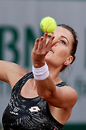 Paris, France - 2017 May 30: Agnieszka Radwanska from Poland serves during her women's single match first round during tennis Grand Slam tournament The French Open 2017 (also called Roland Garros) at Stade Roland Garros on May 30, 2017 in Paris, France.<br /> <br /> Mandatory credit:<br /> Photo by © Adam Nurkiewicz<br /> <br /> Adam Nurkiewicz declares that he has no rights to the image of people at the photographs of his authorship.<br /> <br /> Picture also available in RAW (NEF) or TIFF format on special request.<br /> <br /> Any editorial, commercial or promotional use requires written permission from the author of image.