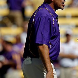 Oct 2, 2010; Baton Rouge, LA, USA; LSU Tigers offensive coordinator Gary Crowton on the field prior to kickoff of a game between the LSU Tigers and the Tennessee Volunteers at Tiger Stadium.  Mandatory Credit: Derick E. Hingle