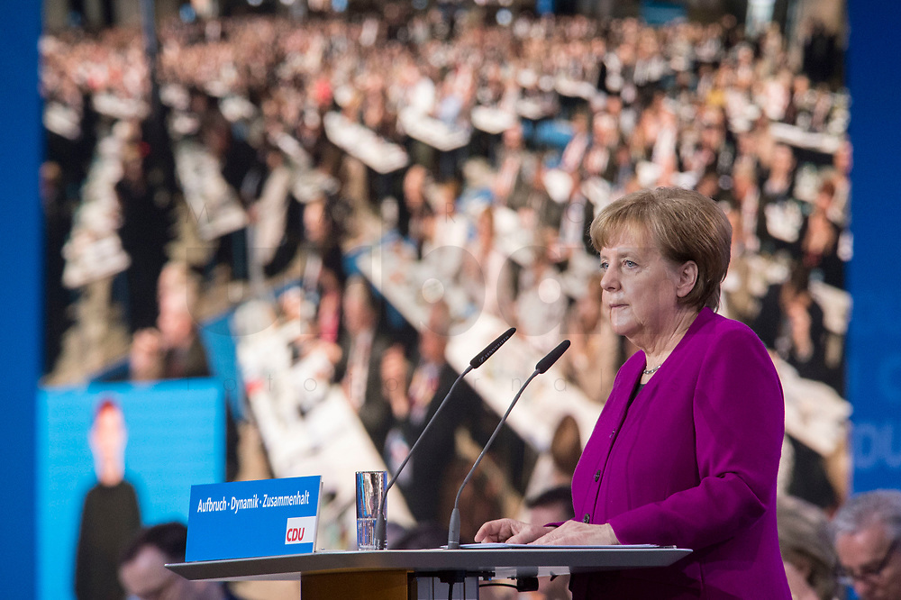 26 FEB 2018, BERLIN/GERMANY:<br /> Angela Merkel, CDU, Bundeskanzlerin, waehrend ihrer Rede, CDU Bundesparteitag, Station Berlin<br /> IMAGE: 20180226-01-068<br /> KEYWORDS: Party Congress, Parteitag