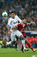 "09.01.2013 SPAIN -  Copa del Rey Matchday 1/16th  match played between Real Madrid CF vs Celta de Vigo (3-0) at Santiago Bernabeu stadium. With ""hat trick"" of Cristiano Ronaldo The picture show Raphael Varane (French defender of Real Madrid)"