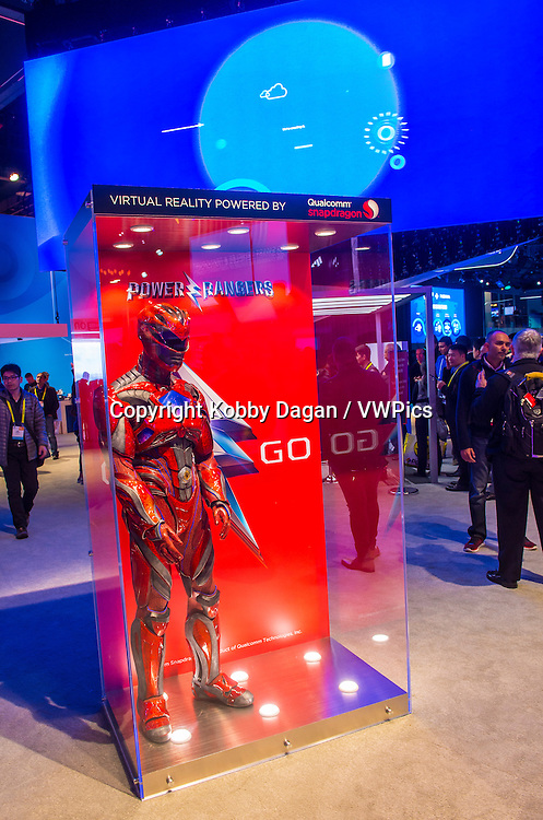 The Qualcomm booth at the CES show in Las Vegas , CES is the world's leading consumer-electronics show.