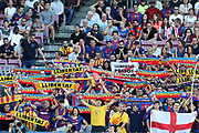 Supporters of FC Barcelona cheer their team during the UEFA Champions League, Group B football match between FC Barcelona and PSV Eindhoven on September 18, 2018 at Camp Nou stadium in Barcelona, Spain - Photo Manuel Blondeau / AOP Press / ProSportsImages / DPPI