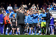 Leicester City players take the guard of honour during the Barclays Premier League match between Chelsea and Leicester City at Stamford Bridge, London, England on 15 May 2016. Photo by Jon Bromley.