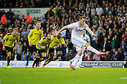 Leeds United's Chris Wood (9) scores a penalty and makes the score 1-0 to Leeds United during the EFL Sky Bet Championship match between Leeds United and Burton Albion at Elland Road, Leeds, England on 29 October 2016. Photo by Richard Holmes.
