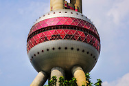 Close-up of the Oriental Pearl TV Tower in Shanghai.