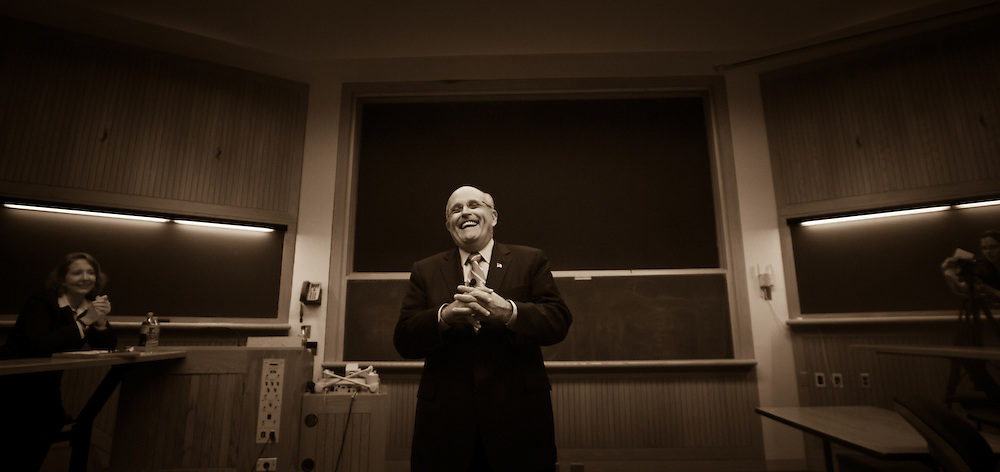 Former New York City mayor Rudy Giuliani speaks to an American Political Institutions class at Dartmouth College. Hanover, NH 15th July, 2011