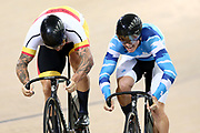 Eddie Dawkins and Sam Webster ME Sprint during the 2019 Vantage Elite and U19 Track Cycling National Championships at the Avantidrome in Cambridge, New Zealand on Friday, 08 February 2019. ( Mandatory Photo Credit: Dianne Manson )