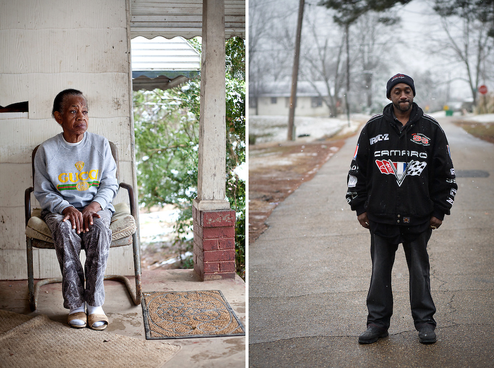 "(Left) Louise Marie Monroe, 72, the widow of Bernard Monroe, sits on the porch where she watched her husband of 49 years lie dying in the yard below.  Witnesses and family members believe Bernard Monroe was on his way into the house to check on his wife when he was shot seven times through the screen door by police as he walked up the steps. (Right) Shuan Monroe stands in the road in front of the house where his father was shot. Shaun, the son of Bernard Monroe, Sr., was being pursued by police when the shooting occurred. ""If you ask me if I feel responsible for my father's death, I think about that everyday.  Everyday."""