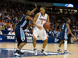 Virginia forward Lyndra Littles (1) in action against ODU.  The #11 ranked / #5 seed Old Dominion Lady Monarchs defeated the #24 ranked / #4 seed Virginia Cavaliers 88-85 in overtime in the second round of the 2008 NCAA Women's Basketball Championship at the Ted Constant Convocation Center in Norfolk, VA on March 25, 2008.