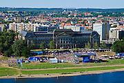 Finanz- und Kultusministerium, open air Bühne an der Elbe, Neustadt, Dresden, Sachsen, Deutschland.|.ministry of finance and culture, Neustadt, Dresden, Germany