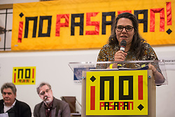 London, UK. 2nd March, 2019. Gertru Vargas of Izquierda Unida Andalucia addresses the ¡No Pasaran! Confronting the Rise of the Far-Right conference at Bloomsbury Central.