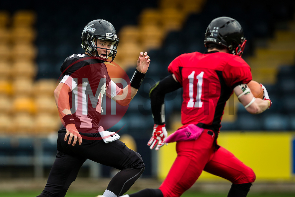 Kent Exiles chases East Kilbride Pirates wide receiver - Mandatory by-line: Jason Brown/JMP - 27/08/2016 - AMERICAN FOOTBALL - Sixways Stadium - Worcester, England - Kent Exiles v East Kilbride Pirates - BAFA Britbowl Finals Day