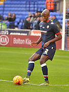 Bolton Defender, Prince-D?sir Gouano warms up before  the Sky Bet Championship match between Bolton Wanderers and Bristol City at the Macron Stadium, Bolton, England on 7 November 2015. Photo by Mark Pollitt.