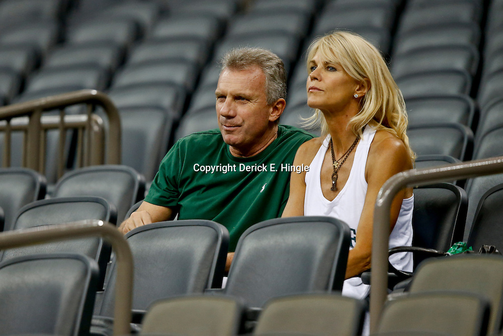 Aug 29, 2013; New Orleans, LA, USA; Former NFL player Joe Montana and his wife  Jennifer Montana look on from the stands before the debut game of their son Tulane Green Wave quarterback Nick Montana (not pictured) makes his first start for a game against the Jackson State Tigers at the Mercedes-Benz Superdome. Mandatory Credit: Derick E. Hingle-USA TODAY Sports