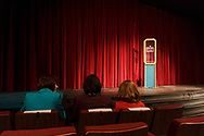 "Middletown, New York - The SUNY Orange Apprentice Players perform  ""DURANG'd"" on stage at the William and Helen Richards Theatre at Orange Hall on the Middletown campus of SUNY Orange on April 12, 2018. ""DURANG'd"" is an evening of 10 one-act plays by Christopher Durang, one of America's most original and funniest contemporary playwrights."