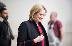 © Licensed to London News Pictures. 04/02/2018. London, UK. Home Secretary AMBER RUDD, leaves BBC Broadcasting House in London following an appearance on The Andrew Marr Show on BBC One. Photo credit: Ben Cawthra/LNP