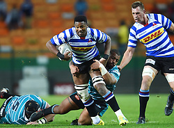 Cape Town-180921- Wastern Province player Sikhumbuzo Notshe tackled by Devon Martinus  of Tafel lager Griquas in the Currie Cup Game played at Newlands Stadium .Photographs:Phando Jikelo/African News Agency/ANA