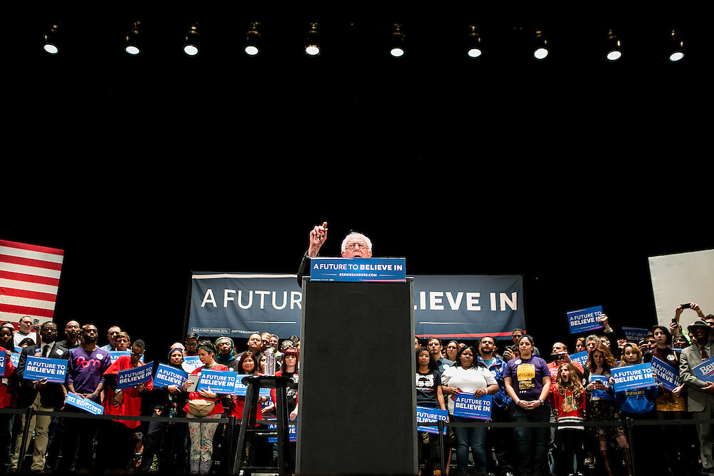 CHICAGO, IL - MARCH 15, 2015: Democratic presidential candidate Bernie Sanders speaks at a campaign rally in Chicago, Illinois. CREDIT: Sam Hodgson for The New York Times.