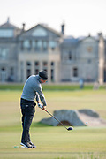 Marcel Siem plays his tee shot on the 18th during the Alfred Dunhill Links Championships 2018 at St Andrews, West Sands, Scotland on 6 October 2018.