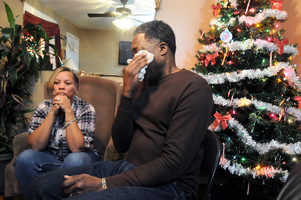 (Mara Lavitt &mdash; New Haven Register) <br /> December 12, 2013 West Haven<br /> Celeste and Gregory Fulcher, parents of Key Club shooting victim Erika Robinson, at home in West Haven.