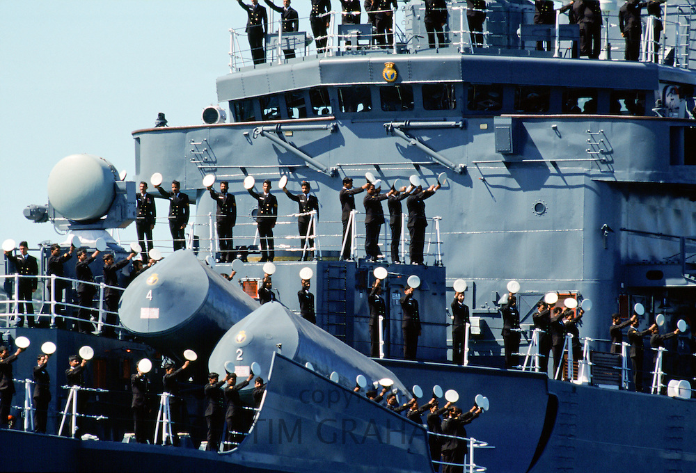 Australian warship and crew take part in Naval Review and maritime parade in Sydney Harbour for Australia's Bicentenary, 1988