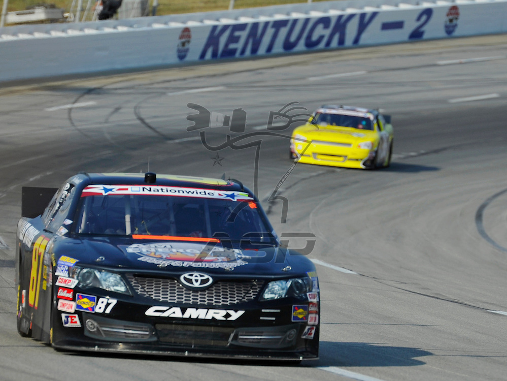 Sparta, KY - JUN 29, 2012: Joe Nemechek (87) during the final practice for the Feed the Children 300 at the Kentucky Speedway in Sparta, KY.