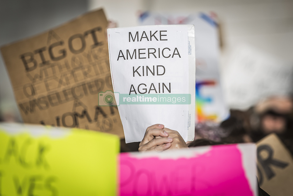 November 12, 2016 - New York, New York, United States - Planned and spontaneous anti-Trump protests continued in New York City for a third day. Hundreds of students, high school and college-aged, flooded into Washington Square Park early yesterday afternoon and then marched north to Union Square. Protests continued into the night in NYC and in dozens of cities across America. (Credit Image: © Michael Nigro/Pacific Press via ZUMA Wire)