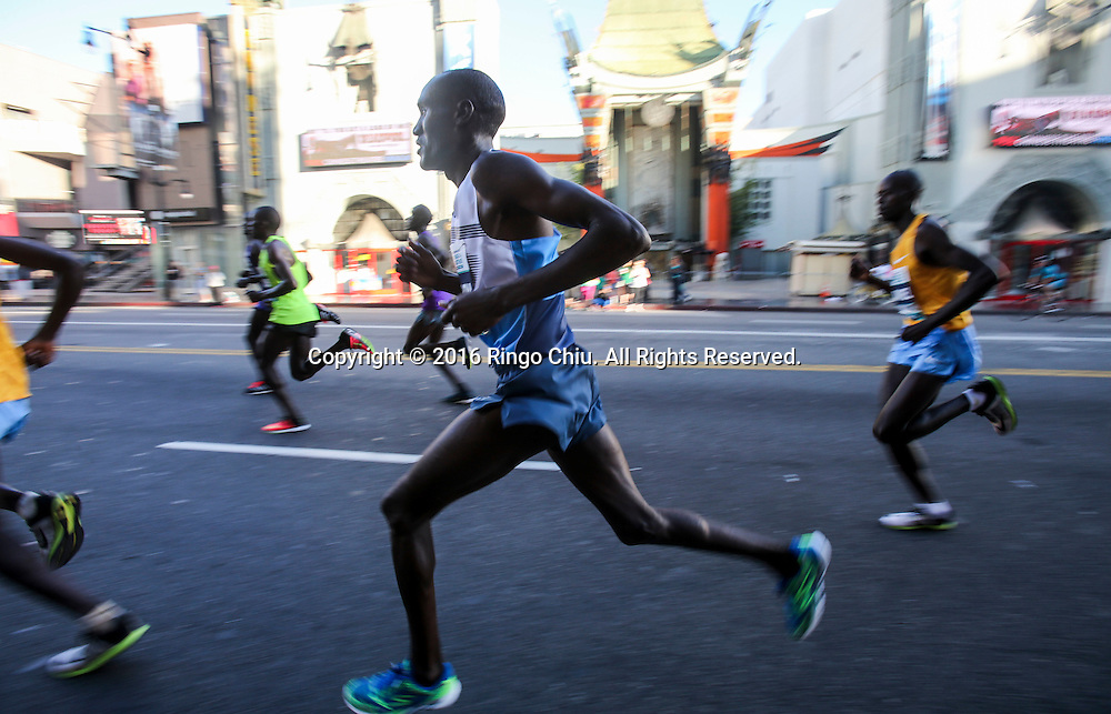 Elite Runners make their way along Hollywood Boulevard during the 31st Los Angeles Marathon in Los Angeles, Sunday, Feb. 14, 2016. The 26.2-mile marathon started at Dodger Stadium and finished at Santa Monica.  (Photo by Ringo Chiu/PHOTOFORMULA.com)<br /> <br /> Usage Notes: This content is intended for editorial use only. For other uses, additional clearances may be required.