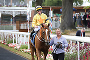 HAROME (3) ridden by jockey Ben Sanderson and trained by Roger Fell and enters the Winners Enclosure after winning The Irish Thoroughbred Marketing Stakes over 5f (£15,000) at York Racecourse, York, United Kingdom on 13 July 2018. Picture by Mick Atkins.