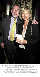 The EARL & COUNTESS OF BRADFORD at a reception in London on 15th October 2001.OTB 44