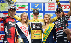 08.07.2012, Universitaetsring, Wien, AUT, 64. Oesterreich Rundfahrt, 8. Etappe, Podersdorf am Neusiedler See - Wien, im Bild vlnr. Steve Morabito (SUI, Platz 2, BMC Racing Team), Jakob Fuglsang (DEN, Platz 1, Radioshack-Nissan) und Bild Robert Vrecer (SLO, Platz 3, Team Vorarlberg) // fltr.  second Place BMC Racing Team driver Steve Morabito of Switzerland, first Place Radioshack-Nissan driver Jakob Fuglsang of Denmark and third place, Team Vorarlberg driver Robert Vrecer of Slovenia during the 64th Tour of Austria, Stage 8, from Podersdorf/Neusiedlersee to Vienna, Vienna, Austria on 20120708, EXPA Pictures © 2012, PhotoCredit: EXPA/ M. Gruber