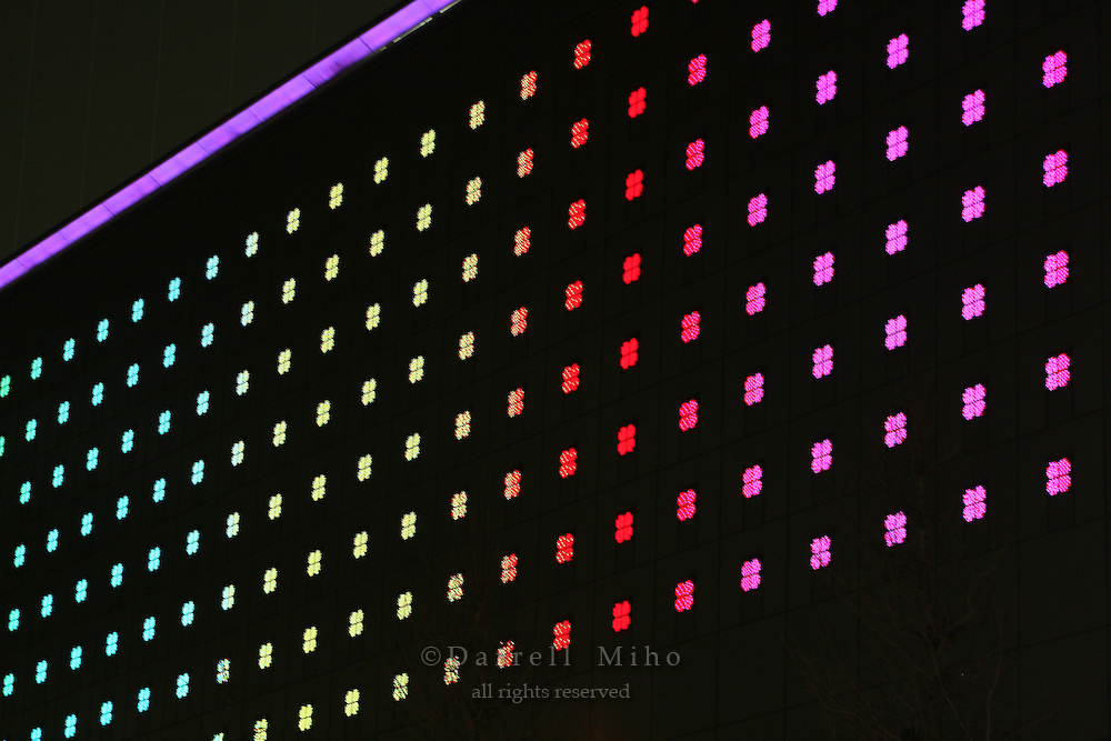 Mar 6, 2006; Tokyo, JPN; Ginza.Colorful light display at night lights up the side of a building in Ginza...Photo credit:  Darrell Miho