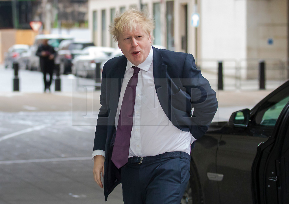 © Licensed to London News Pictures. 18/03/2018. London, UK. Foreign Secretary Boris Johnson arrives at BBC Broadcasting House to appear on The Andrew Marr Show. Photo credit: Rob Pinney/LNP