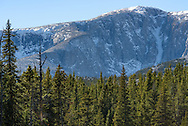 Fresh snow lingers on the eastern face of the 12,324 feet high Bighorn Peak on an October afternoon.