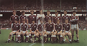 All Ireland Senior Hurling Championship - Final,.07.09.1980, 09.07.1980, 7th September 1980,.Galway 2-15, Limerick 3-9,.07091980ALSHCF,..Back row, Noel Lane, Frank Burke, Niall McInerney, Michael Coneely, Michael Connolly, Iggy Clarke, John Connolly, Sean Silke, Front row, P J Molloy, Silvie Linnane, Pascal Ryan, Seamus Coen, Joe Connolly captain, Bernie Forde, Jimmy Cooney,
