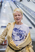 Vivienne Westwood, Sadie Frost, John Sauven (Executive Director, Greenpeace UK) and photographer Andy Gotts MBE attend the launch of the Save the Arctic photography exhibition at London Underground's Waterloo Station, London, UK 13 July 2015. The images show 60 celebrities wearing Vivienne Westwood's Save the Arctic t-shirt – photographed by Andy Gotts MBE  - most have never been seen before. The exhibition, which includes Pamela Anderson, George Clooney, Kate Moss, Naomi Campbell, Vanessa Redgrave, Sir Ian McKellen, Dame Judi Dench and many more, is in the advertising space running up to the London HQ of oil company Shell, which is due to start drilling in the Arctic this month.