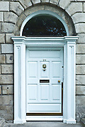 Traditional doorway with fanlight windows in Merrion Square famous for its Georgian architecture, Dublin, Ireland