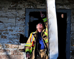 Hanover Township fire investigators asses the scene of a barn fire that started just after midnight Sunday Feb. 7th. 2016 in Hanover Township, Northampton County, Pa. Photo By   CHRIS POST
