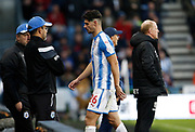 Huddersfield Town's Christopher Schindler leaves the field after being shown a red card by Referee Roger East during the Premier League match between Huddersfield Town and West Bromwich Albion at the John Smiths Stadium, Huddersfield, England on 4 November 2017. Photo by Paul Thompson.