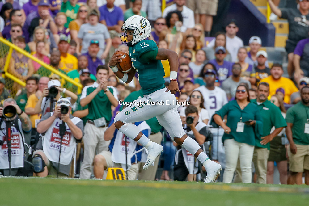 Sep 8, 2018; Baton Rouge, LA, USA; Southeastern Louisiana Lions quarterback Chason Virgil (9) runs against the LSU Tigers during the first quarter of a game at Tiger Stadium. Mandatory Credit: Derick E. Hingle-USA TODAY Sports