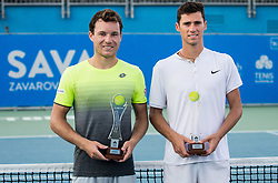 Doubles Runners up Lucas Miedler (AUT) and Nikola Cacic (SRB) posing at Trophy ceremony during Day 8 at ATP Challenger Zavarovalnica Sava Slovenia Open 2018, on August 10, 2018 in Sports centre, Portoroz/Portorose, Slovenia. Photo by Vid Ponikvar / Sportida