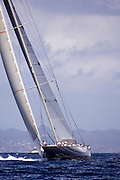Velsheda, J Class, sailing in the St. Barth's Bucket Regatta, day one.