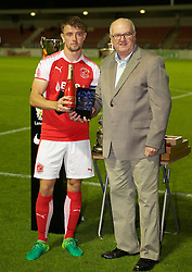 LEYLAND, ENGLAND - Friday, September 1, 2017: Fleetwood Town's captain Jack Sowerby receives the man-of-the-match award during the Lancashire Senior Cup Final match between Fleetwood Town and Liverpool Under-23's at the County Ground. (Pic by Propaganda)