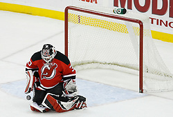 Feb 28, 2009; Newark, NJ, USA; New Jersey Devils goalie Martin Brodeur (30) makes a save during the first period at the Prudential Center.